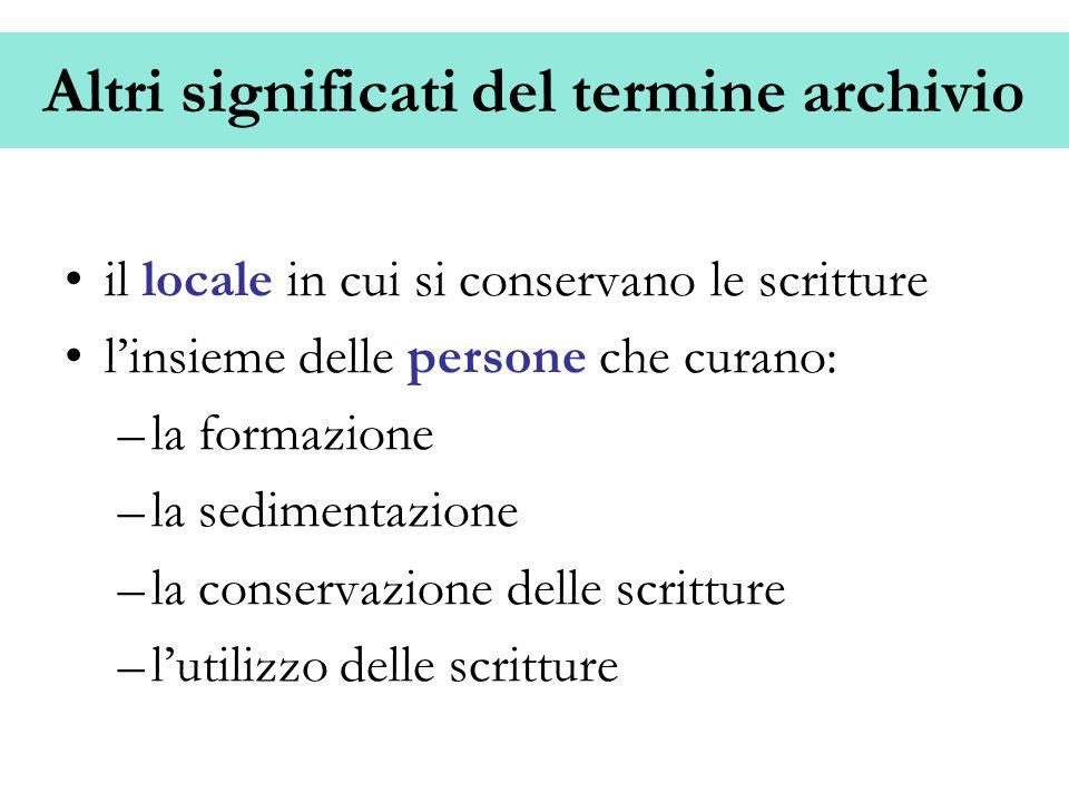 Altri significati del termine archivio il locale in cui si conservano le scritture linsieme delle persone che curano: –la formazione –la sedimentazion