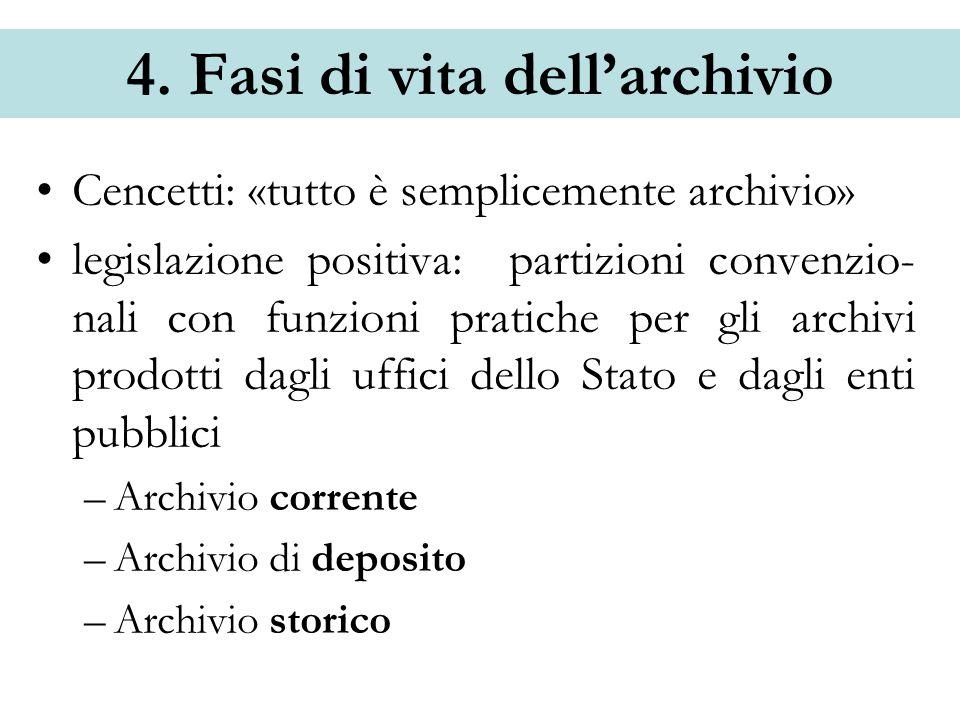 4. Fasi di vita dellarchivio Cencetti: «tutto è semplicemente archivio» legislazione positiva: partizioni convenzio- nali con funzioni pratiche per gl