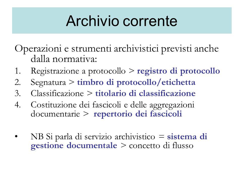 Archivio corrente Operazioni e strumenti archivistici previsti anche dalla normativa: 1.Registrazione a protocollo > registro di protocollo 2.Segnatur