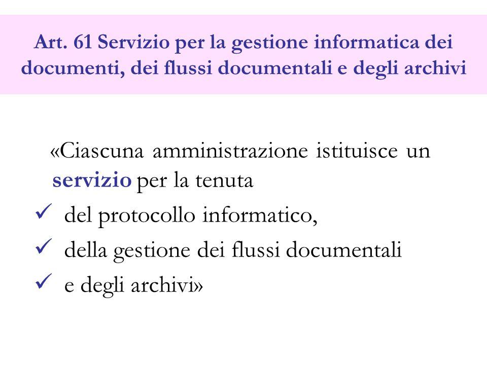 Art. 61 Servizio per la gestione informatica dei documenti, dei flussi documentali e degli archivi «Ciascuna amministrazione istituisce un servizio pe