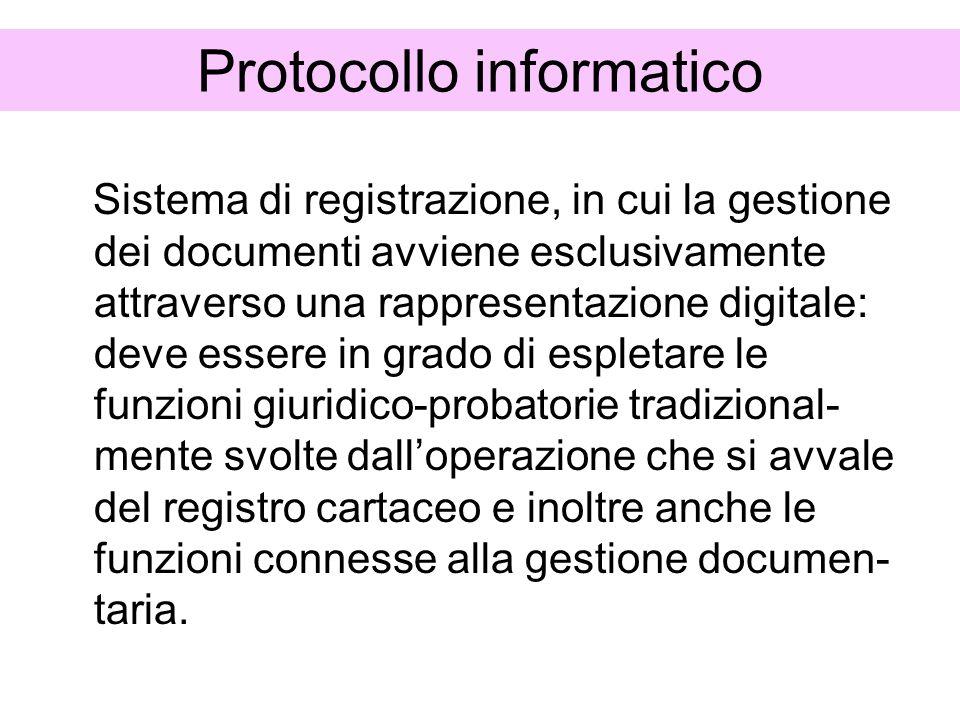 Protocollo informatico Sistema di registrazione, in cui la gestione dei documenti avviene esclusivamente attraverso una rappresentazione digitale: dev
