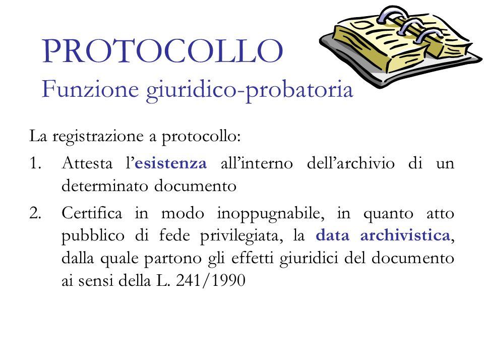 PROTOCOLLO Funzione giuridico-probatoria La registrazione a protocollo: 1.Attesta lesistenza allinterno dellarchivio di un determinato documento 2.Cer