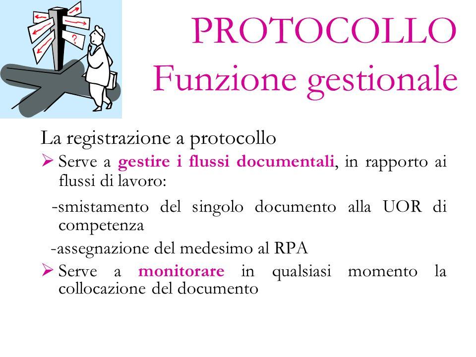 PROTOCOLLO Funzione gestionale La registrazione a protocollo Serve a gestire i flussi documentali, in rapporto ai flussi di lavoro: - smistamento del