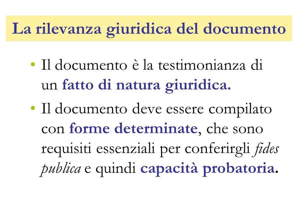 La rilevanza giuridica del documento Il documento è la testimonianza di un fatto di natura giuridica. Il documento deve essere compilato con forme det