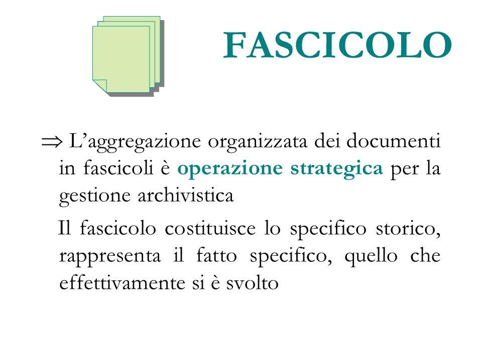 FASCICOLO Laggregazione organizzata dei documenti in fascicoli è operazione strategica per la gestione archivistica Il fascicolo costituisce lo specif
