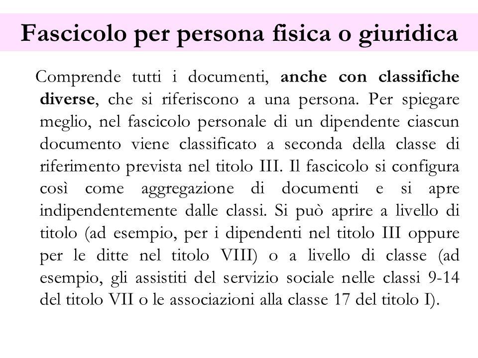 Fascicolo per persona fisica o giuridica Comprende tutti i documenti, anche con classifiche diverse, che si riferiscono a una persona. Per spiegare me