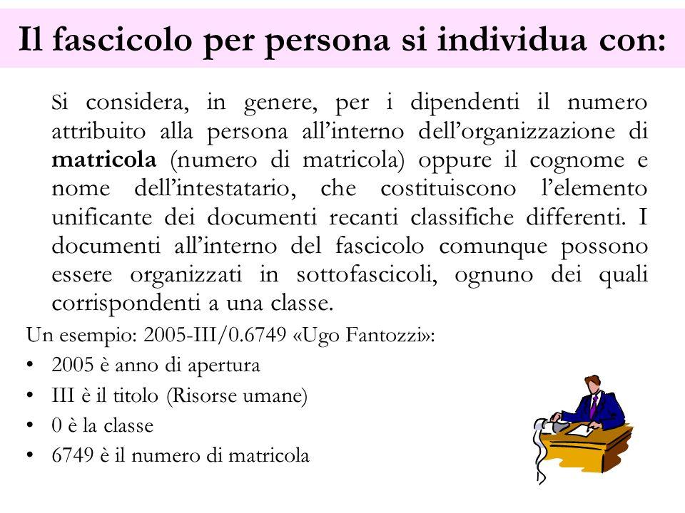 Il fascicolo per persona si individua con: S i considera, in genere, per i dipendenti il numero attribuito alla persona allinterno dellorganizzazione