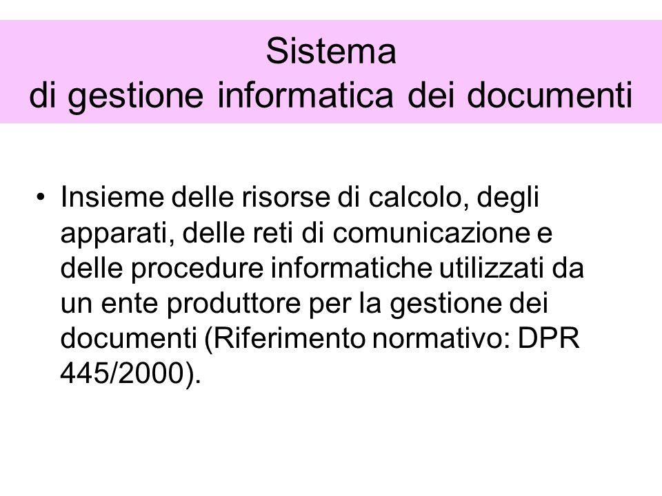 Sistema di gestione informatica dei documenti Insieme delle risorse di calcolo, degli apparati, delle reti di comunicazione e delle procedure informat