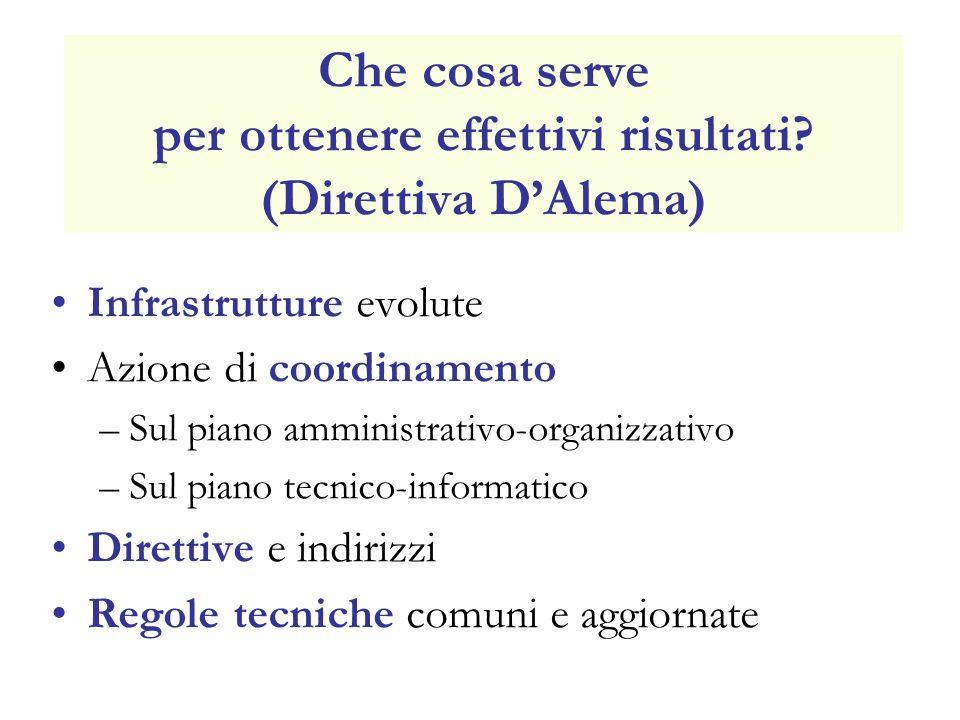 Che cosa serve per ottenere effettivi risultati? (Direttiva DAlema) Infrastrutture evolute Azione di coordinamento –Sul piano amministrativo-organizza