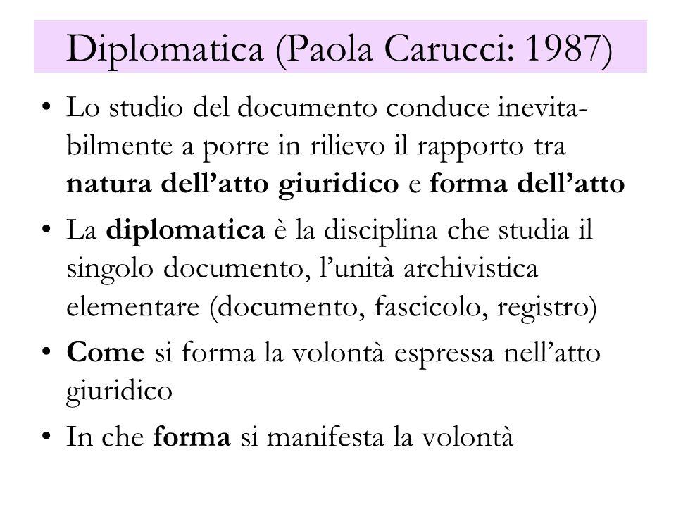 Diplomatica (Paola Carucci: 1987) Lo studio del documento conduce inevita- bilmente a porre in rilievo il rapporto tra natura dellatto giuridico e for