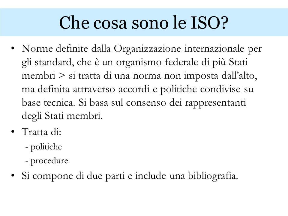 Che cosa sono le ISO? Norme definite dalla Organizzazione internazionale per gli standard, che è un organismo federale di più Stati membri > si tratta