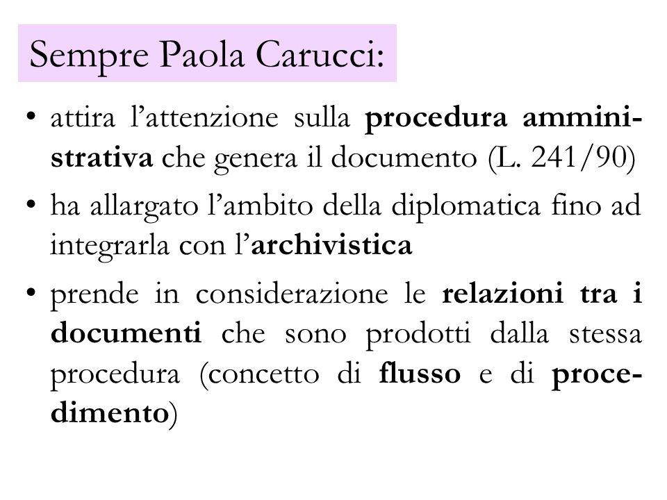 Sempre Paola Carucci: attira lattenzione sulla procedura ammini- strativa che genera il documento (L. 241/90) ha allargato lambito della diplomatica f