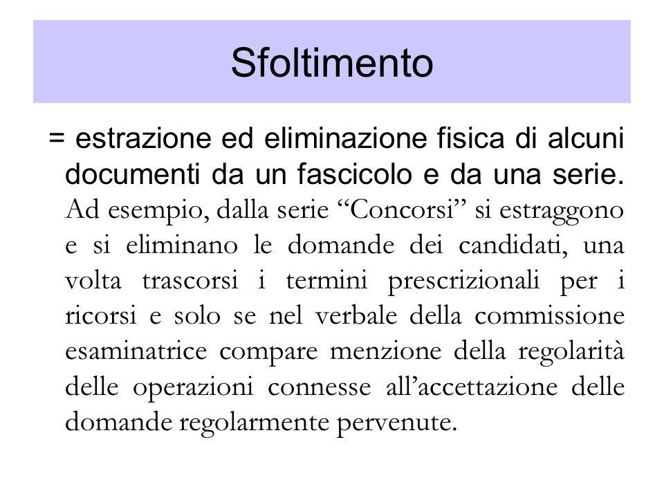 Sfoltimento = estrazione ed eliminazione fisica di alcuni documenti da un fascicolo e da una serie. Ad esempio, dalla serie Concorsi si estraggono e s
