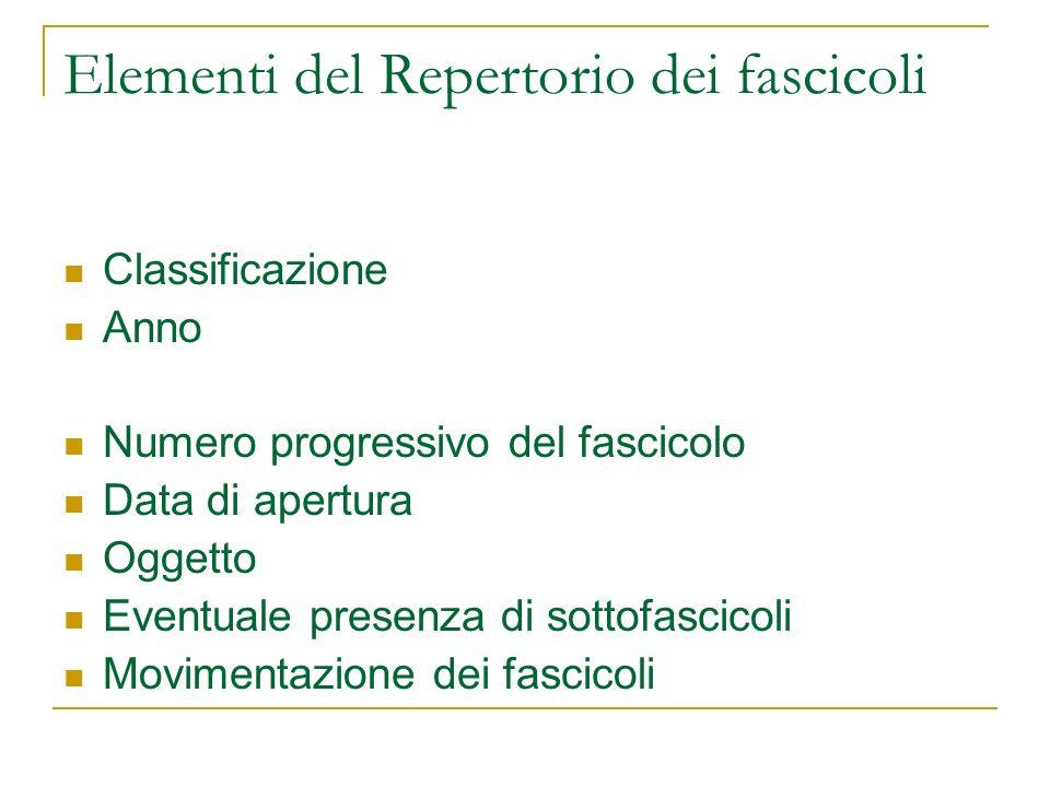 Elementi del Repertorio dei fascicoli Classificazione Anno Numero progressivo del fascicolo Data di apertura Oggetto Eventuale presenza di sottofascicoli Movimentazione dei fascicoli