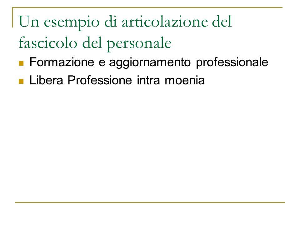 Un esempio di articolazione del fascicolo del personale Formazione e aggiornamento professionale Libera Professione intra moenia