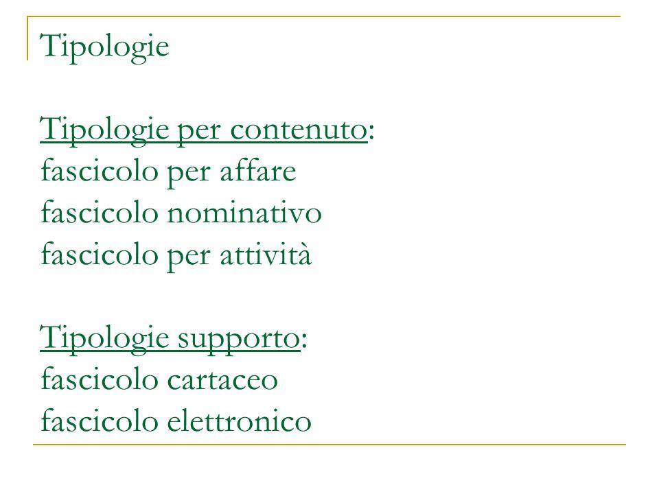 Tipologie Tipologie per contenuto: fascicolo per affare fascicolo nominativo fascicolo per attività Tipologie supporto: fascicolo cartaceo fascicolo elettronico