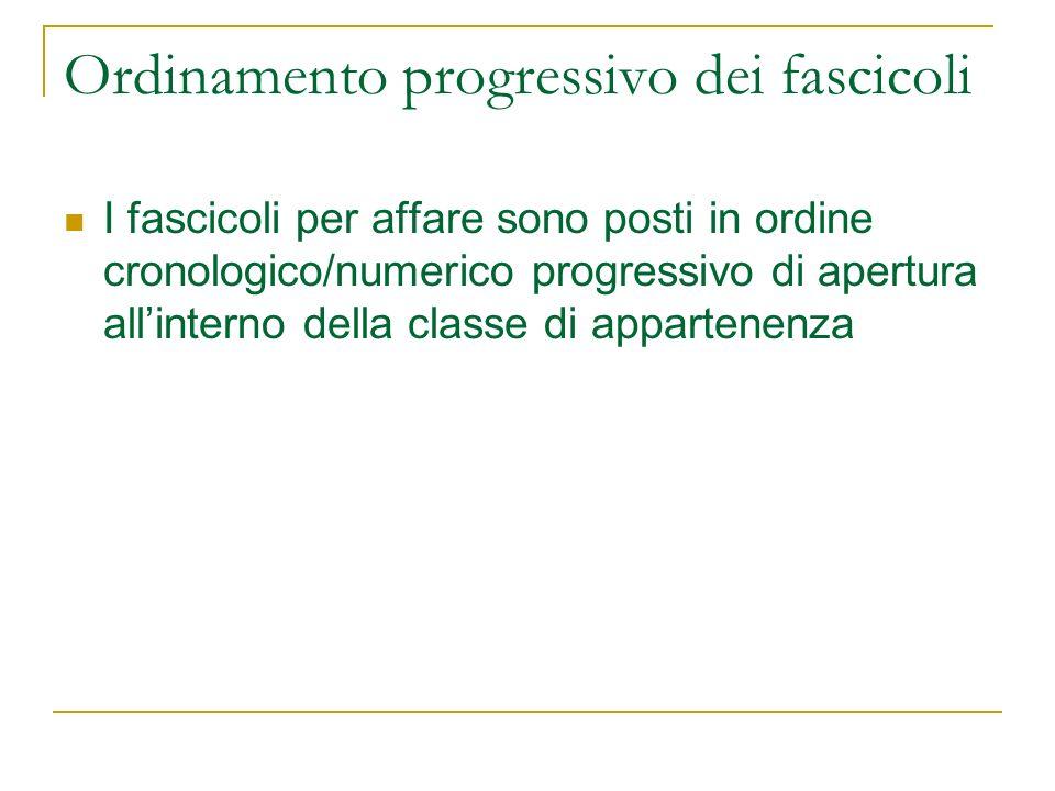 Ordinamento progressivo dei fascicoli I fascicoli per affare sono posti in ordine cronologico/numerico progressivo di apertura allinterno della classe di appartenenza