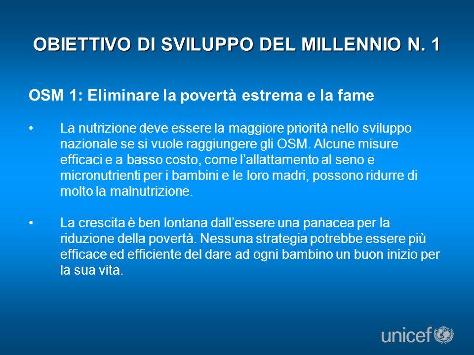 OBIETTIVO DI SVILUPPO DEL MILLENNIO N. 1 OSM 1: Eliminare la povertà estrema e la fame La nutrizione deve essere la maggiore priorità nello sviluppo n