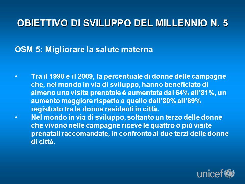 OBIETTIVO DI SVILUPPO DEL MILLENNIO N. 5 OSM 5: Migliorare la salute materna Tra il 1990 e il 2009, la percentuale di donne delle campagne che, nel mo