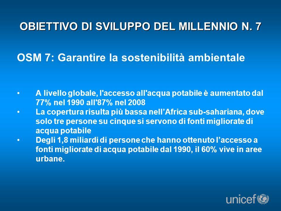 OBIETTIVO DI SVILUPPO DEL MILLENNIO N. 7 OSM 7: Garantire la sostenibilità ambientale A livello globale, l'accesso all'acqua potabile è aumentato dal