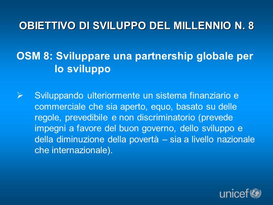 OBIETTIVO DI SVILUPPO DEL MILLENNIO N. 8 OSM 8: Sviluppare una partnership globale per lo sviluppo Sviluppando ulteriormente un sistema finanziario e