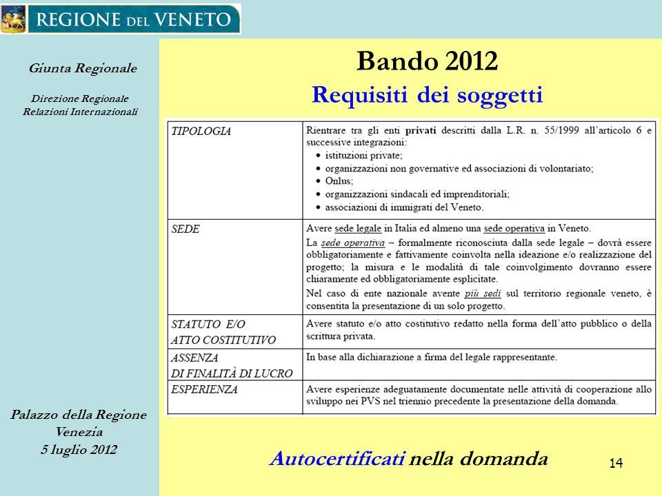 Giunta Regionale Direzione Regionale Relazioni Internazionali Palazzo della Regione Venezia 5 luglio 2012 14 Bando 2012 Requisiti dei soggetti Autocertificati nella domanda