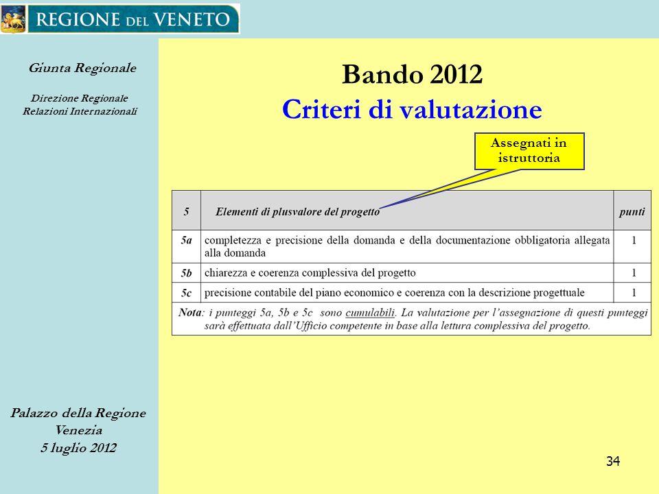 Giunta Regionale Direzione Regionale Relazioni Internazionali Palazzo della Regione Venezia 5 luglio 2012 34 Bando 2012 Criteri di valutazione Assegnati in istruttoria