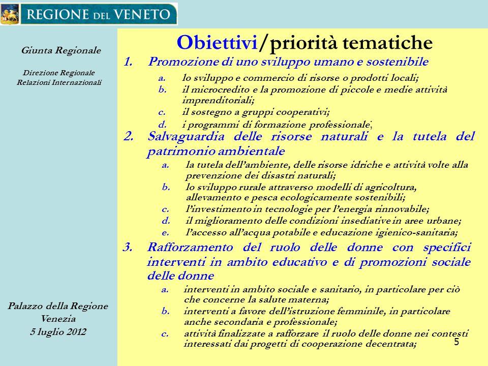 Giunta Regionale Direzione Regionale Relazioni Internazionali Palazzo della Regione Venezia 5 luglio 2012 66 Progetto di Comunicazione 218 foto pubblicate sul flickr Nome: paese - ente/associazione capofila