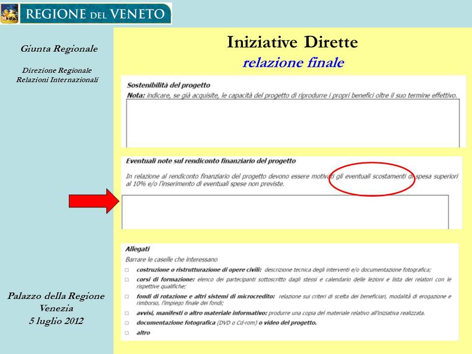 Giunta Regionale Direzione Regionale Relazioni Internazionali Palazzo della Regione Venezia 5 luglio 2012 50 Iniziative Dirette relazione finale
