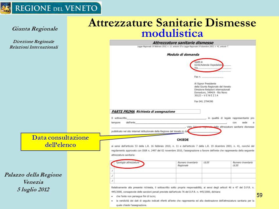 Giunta Regionale Direzione Regionale Relazioni Internazionali Palazzo della Regione Venezia 5 luglio 2012 59 Attrezzature Sanitarie Dismesse modulistica Data consultazione dellelenco