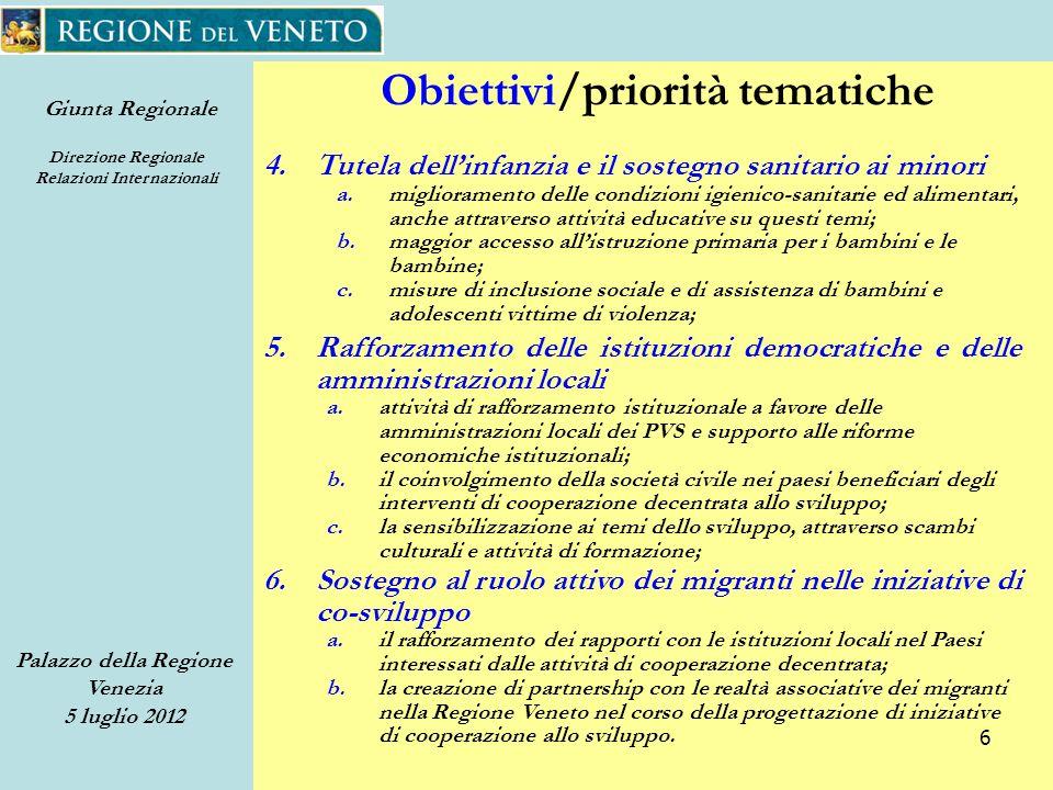 Giunta Regionale Direzione Regionale Relazioni Internazionali Palazzo della Regione Venezia 5 luglio 2012 27 Bando 2012 Domanda Parte terza – Progetto Unopzione coerente