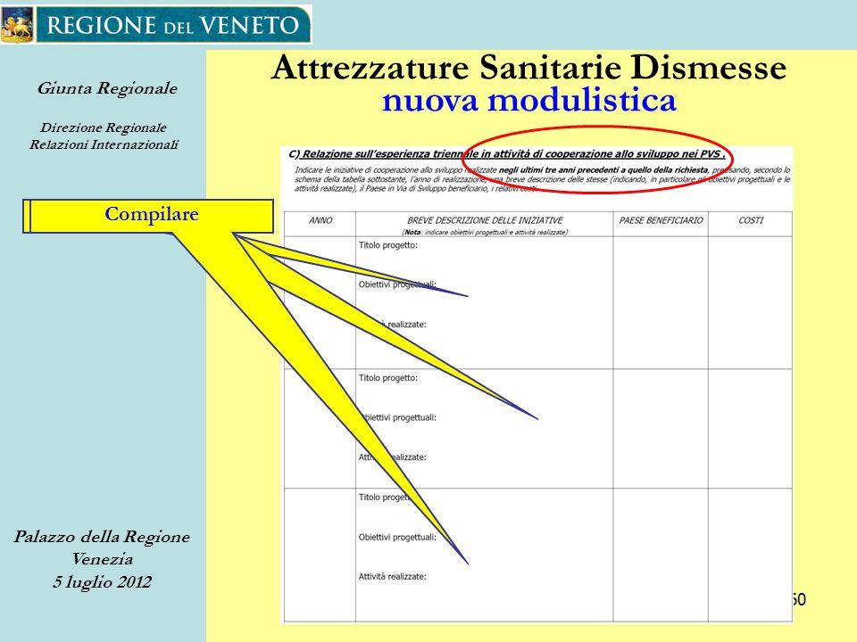 Giunta Regionale Direzione Regionale Relazioni Internazionali Palazzo della Regione Venezia 5 luglio 2012 60 Attrezzature Sanitarie Dismesse nuova modulistica Compilare