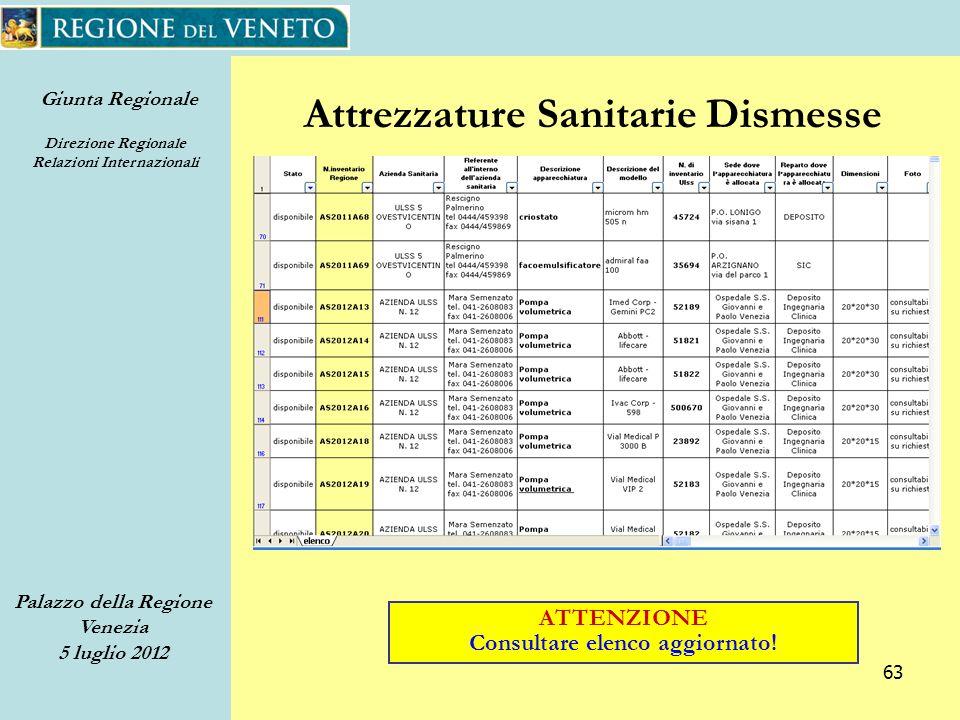 Giunta Regionale Direzione Regionale Relazioni Internazionali Palazzo della Regione Venezia 5 luglio 2012 63 Attrezzature Sanitarie Dismesse ATTENZIONE Consultare elenco aggiornato!