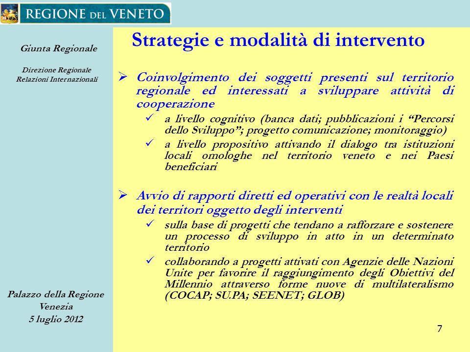 Giunta Regionale Direzione Regionale Relazioni Internazionali Palazzo della Regione Venezia 5 luglio 2012 58 Attrezzature Sanitarie Dismesse Sbagliato.