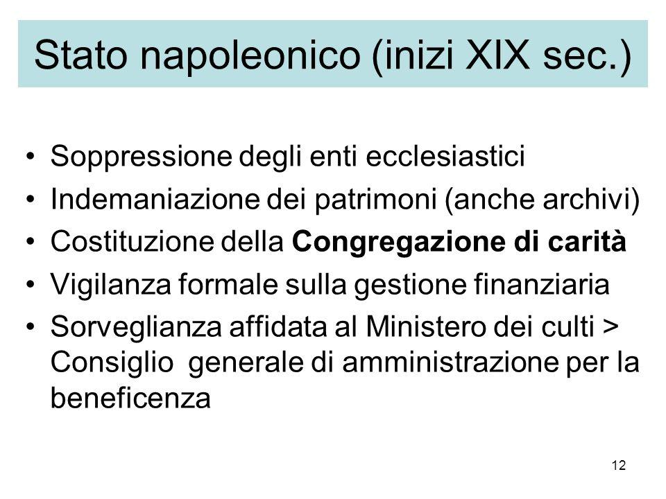 12 Stato napoleonico (inizi XIX sec.) Soppressione degli enti ecclesiastici Indemaniazione dei patrimoni (anche archivi) Costituzione della Congregazi