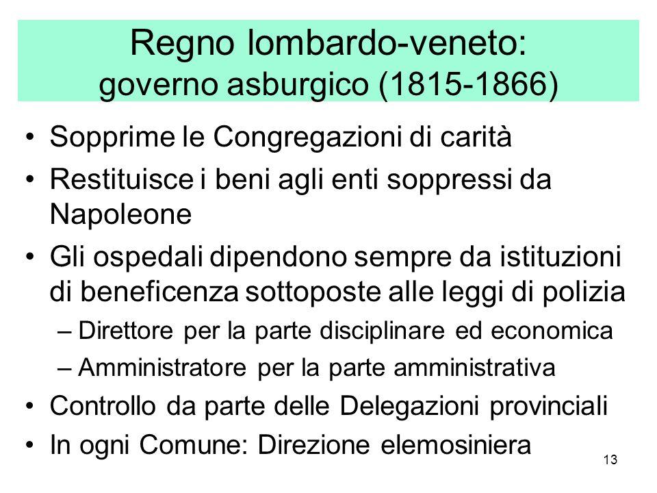 13 Regno lombardo-veneto: governo asburgico (1815-1866) Sopprime le Congregazioni di carità Restituisce i beni agli enti soppressi da Napoleone Gli os