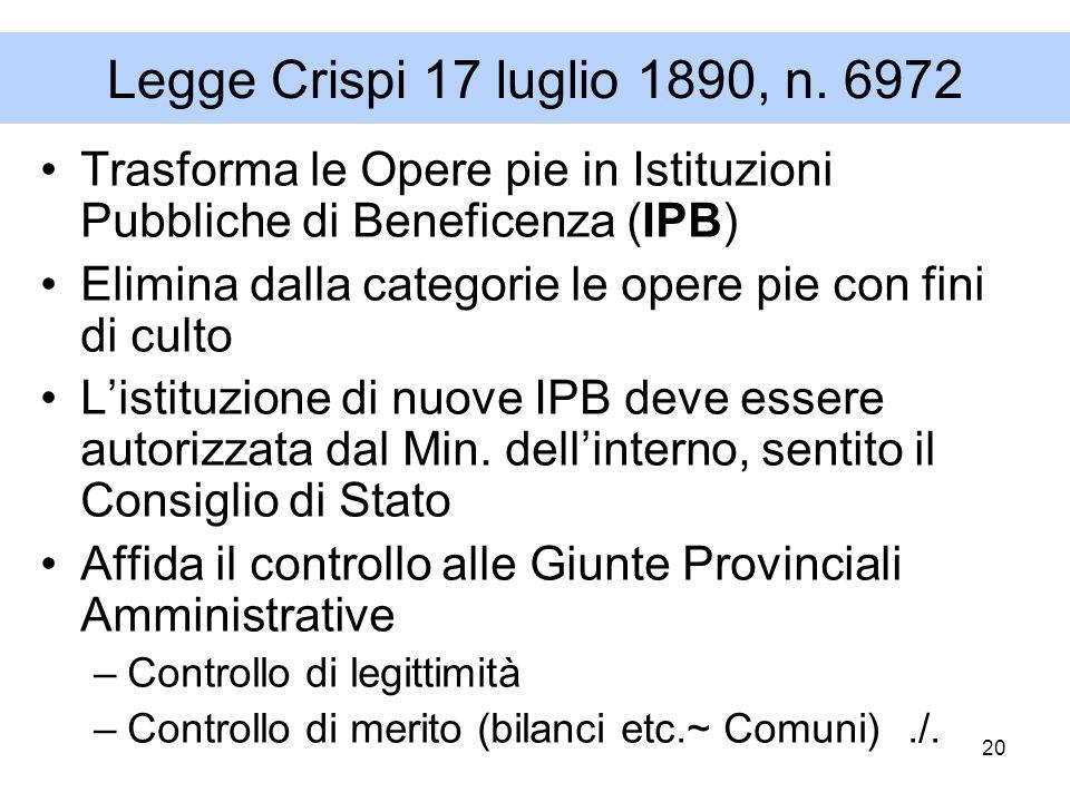 20 Legge Crispi 17 luglio 1890, n. 6972 Trasforma le Opere pie in Istituzioni Pubbliche di Beneficenza (IPB) Elimina dalla categorie le opere pie con