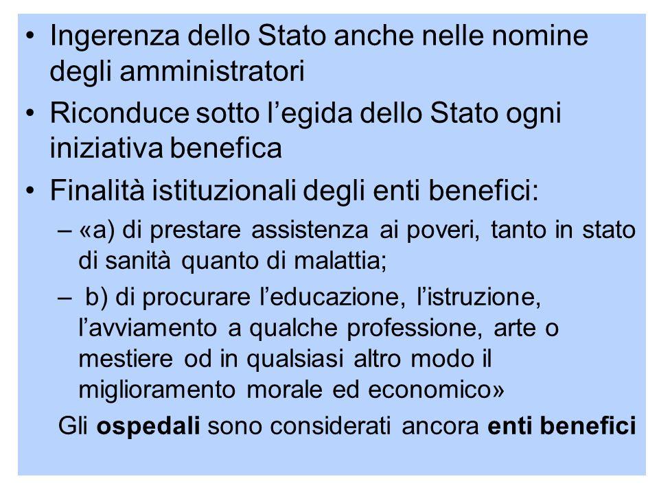21 Ingerenza dello Stato anche nelle nomine degli amministratori Riconduce sotto legida dello Stato ogni iniziativa benefica Finalità istituzionali de