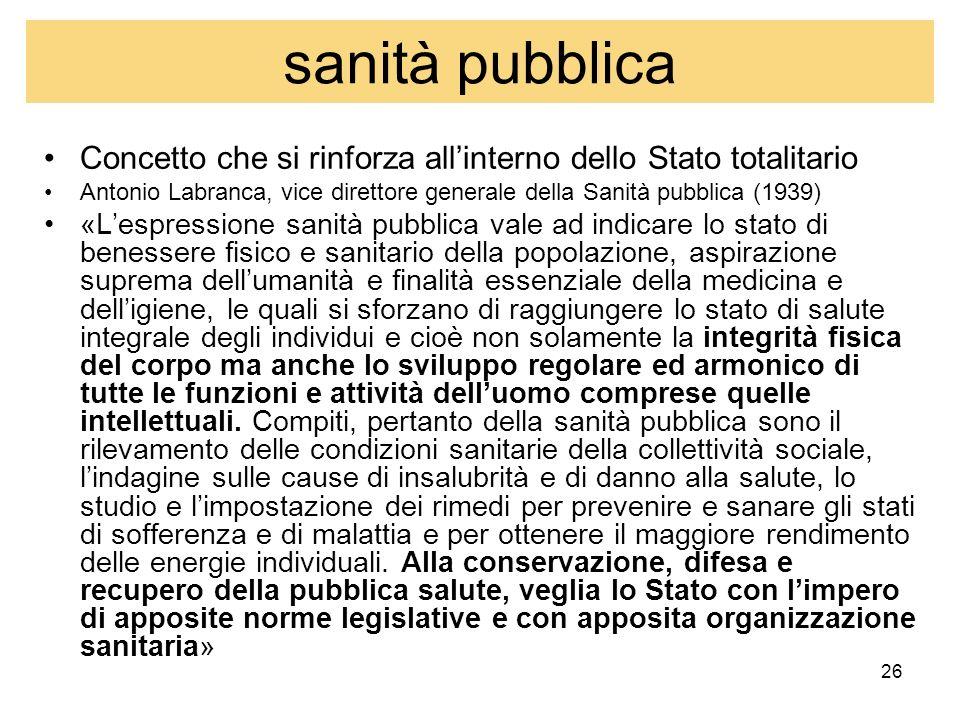 26 sanità pubblica Concetto che si rinforza allinterno dello Stato totalitario Antonio Labranca, vice direttore generale della Sanità pubblica (1939)
