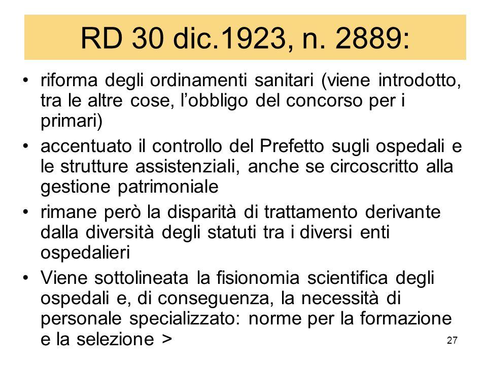27 RD 30 dic.1923, n. 2889: riforma degli ordinamenti sanitari (viene introdotto, tra le altre cose, lobbligo del concorso per i primari) accentuato i