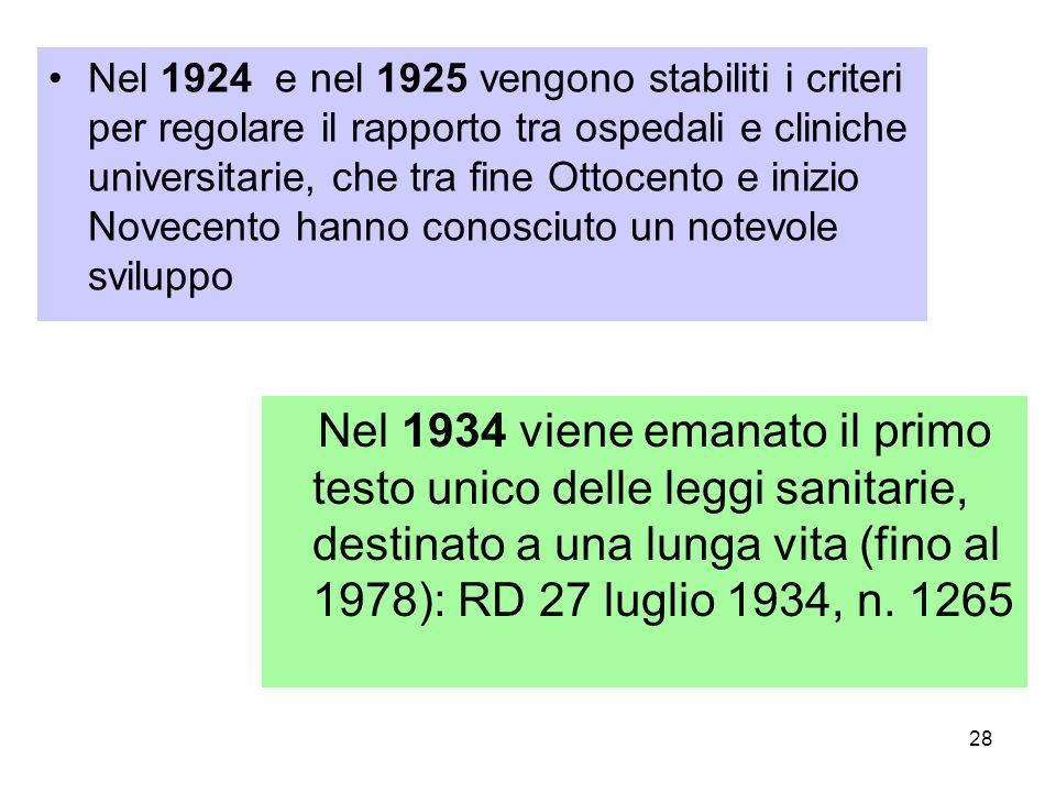 28 Nel 1924 e nel 1925 vengono stabiliti i criteri per regolare il rapporto tra ospedali e cliniche universitarie, che tra fine Ottocento e inizio Nov