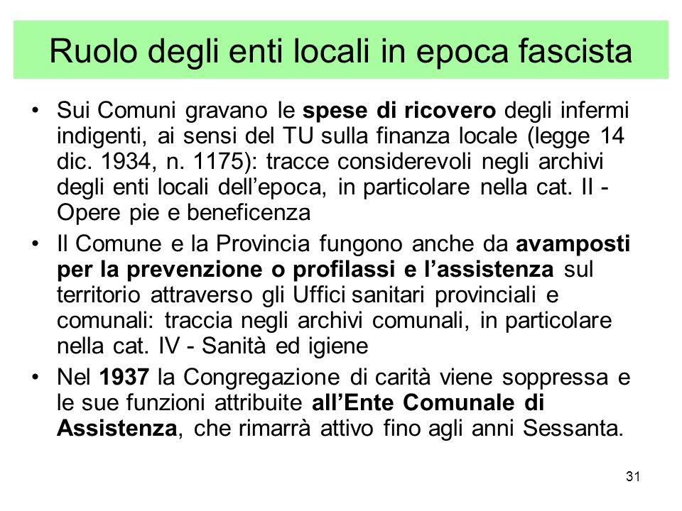 31 Ruolo degli enti locali in epoca fascista Sui Comuni gravano le spese di ricovero degli infermi indigenti, ai sensi del TU sulla finanza locale (legge 14 dic.