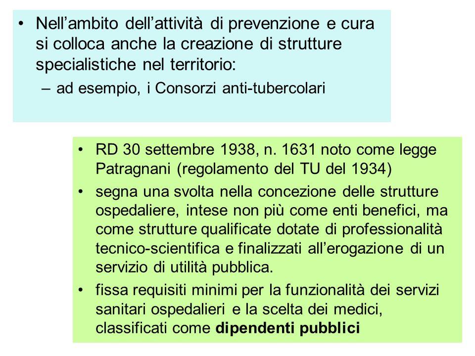 32 Nellambito dellattività di prevenzione e cura si colloca anche la creazione di strutture specialistiche nel territorio: –ad esempio, i Consorzi anti-tubercolari RD 30 settembre 1938, n.
