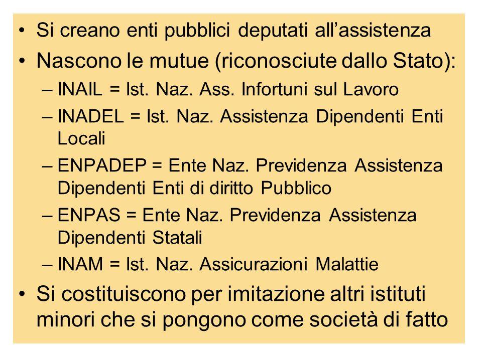 33 Si creano enti pubblici deputati allassistenza Nascono le mutue (riconosciute dallo Stato): –INAIL = Ist. Naz. Ass. Infortuni sul Lavoro –INADEL =