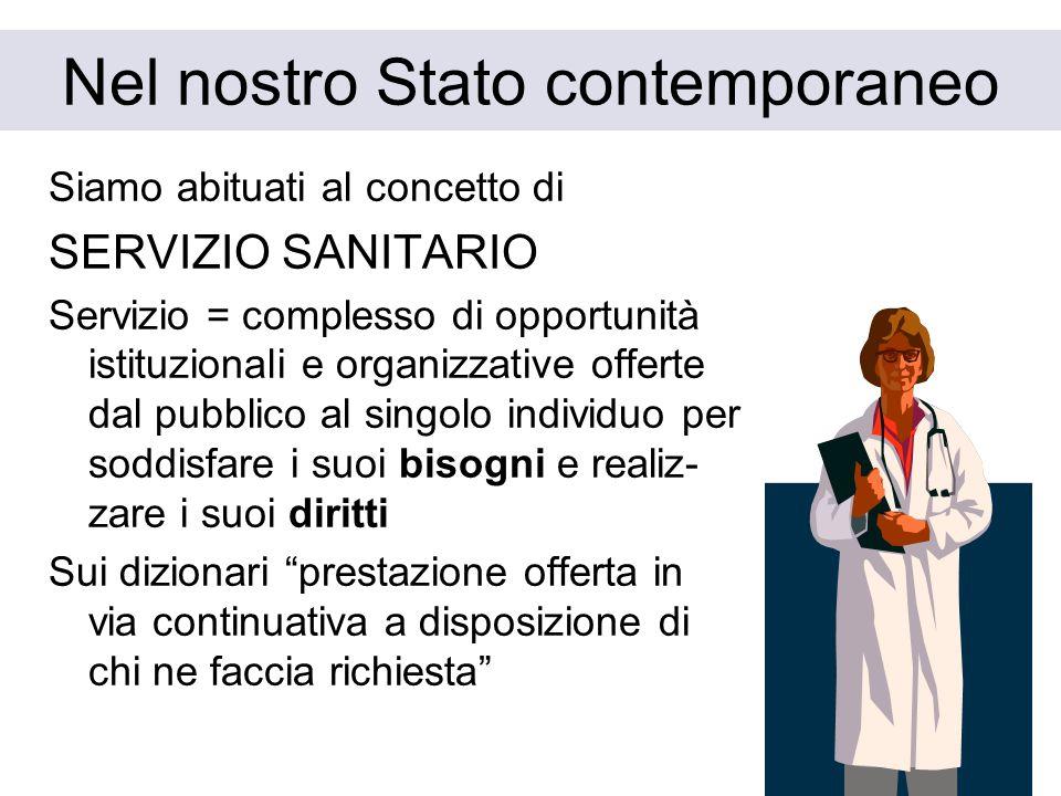 4 Nel nostro Stato contemporaneo Siamo abituati al concetto di SERVIZIO SANITARIO Servizio = complesso di opportunità istituzionali e organizzative of