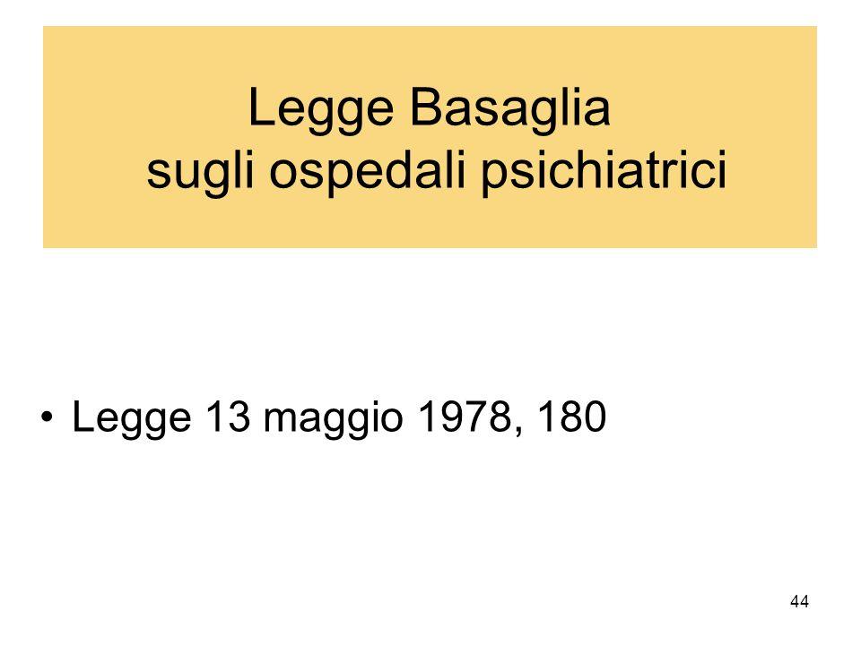 44 Legge Basaglia sugli ospedali psichiatrici Legge 13 maggio 1978, 180