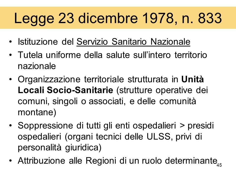 45 Legge 23 dicembre 1978, n. 833 Istituzione del Servizio Sanitario Nazionale Tutela uniforme della salute sullintero territorio nazionale Organizzaz
