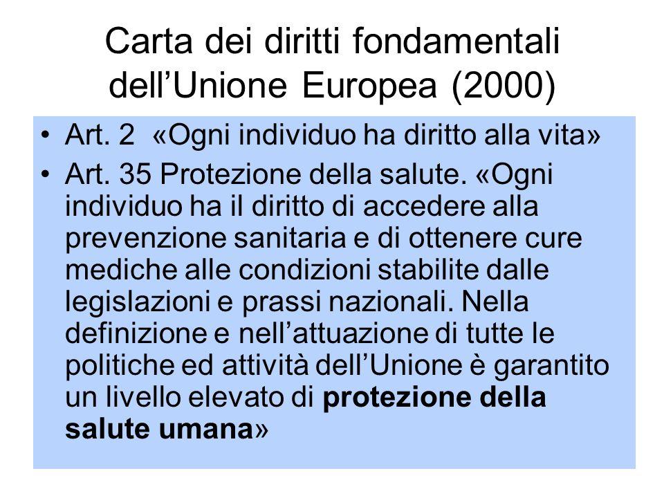 7 Carta dei diritti fondamentali dellUnione Europea (2000) Art. 2 «Ogni individuo ha diritto alla vita» Art. 35 Protezione della salute. «Ogni individ