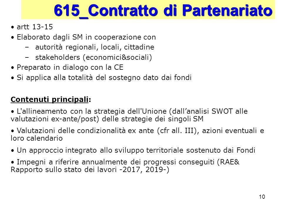 10 615_Contratto di Partenariato artt 13-15 Elaborato dagli SM in cooperazione con –autorità regionali, locali, cittadine –stakeholders (economici&soc