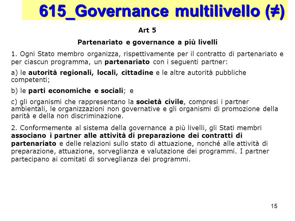 15 615_Governance multilivello () Art 5 Partenariato e governance a più livelli 1. Ogni Stato membro organizza, rispettivamente per il contratto di pa
